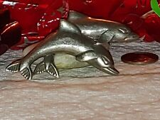 Sterling Silver Breaching Swimming Two Dolphin Porpoise Pin Brooch Marked 925A