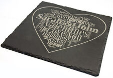 Personalised Square Laser Engraved Slate Plaque, Valentines Day Gift Message