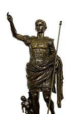 "Impresionante histórica figura de bronce ""Imperator Augustus"" firmado"