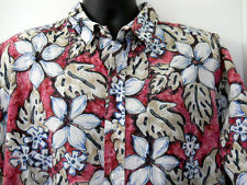 Mens Coral Reef Hawaiian Shirt 2XL Red Flowers Leaves Made in Hawaii 100% Cotton