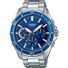 Casio Men's Silvertone Bracelet Watch, Multi-Function, 50 Meter WR, MTD320D-2AV