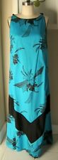 VINTAGE WOMENS TRIBAL AQUA ROYAL PALM ASIAN HAWAIIAN DRESS SIZE L