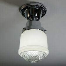 Semi-Flush Ceiling Light. Vintage Glass Shade New Chrome Fixture