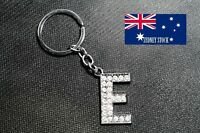 Letter E Name Initial Personalised Bling Diamante Nickel Plated Metal Keyring