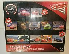 "Disney Pixar Cars 12 Jigsaw Puzzle Pack 5x24pc 5x48pc 2x63pc Size 11.2""x15"""