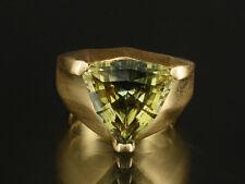 Moderner Ring grüner Saphir ca. 8,70ct kleine Ringweite 51 15,4g 750/- Gelbgold