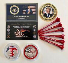 Trump Golf Ball Marker Coin & Tees... Silver Kim Jong-Un & USA Peace + 1 Decal