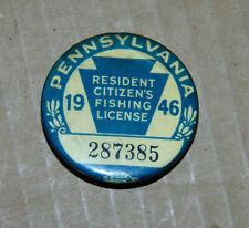 1946 Pennsylvania Fishing License Button