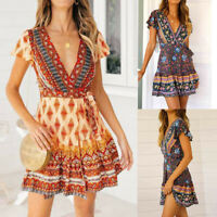 Women Summer V Neck Wrap Boho Floral Mini Skater Dress Sundress Vintage Dress US