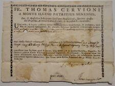 Documento Autentica Reliquia Fr. Thomas Cervioni 1741