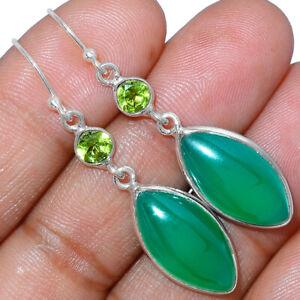Green Onyx & Peridot 925 Sterling Silver Earrings Jewelry AE167177 XGB