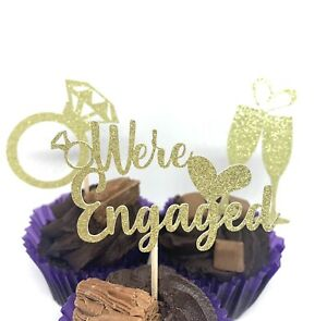 12 WE'RE ENGAGED 3 DESIGNS ENGAGEMENT GLITTER CUPCAKE TOPPERS PICKS PARTY