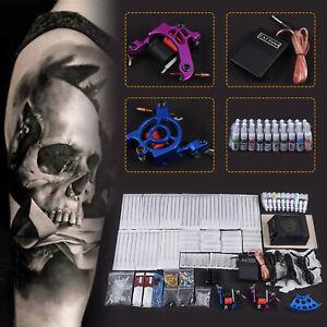 Pro Complete Tatoo Kit 2 Machine Gun 50 Needles 20 Inks Power Supply DIY UK