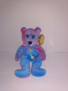 "JC Bears Celebrity Bears #64 Blue Purple Genie Bean Bag Plush With Tags 9"" Tall"