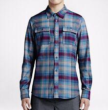 NWT Nike SB Plaid Woven Men's Long Sleeve Shirt (687155-422) Grey/Marina Size S