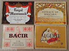 4 ETIQUETTES ANCIENNES DE VINS ALGERIENS 1950-60