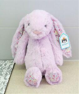 Jellycat Medium Jasmine Blossom Bashful Bunny ~ New Lilac Purple Soft Rabbit Toy