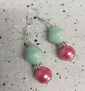 Faux Pink Pearl & Mint Green Bead Silver Tone Drop Earrings - *NEW*