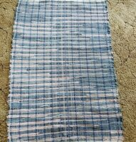 "Blue & Pink Denim Woven Rag Rug Hand Loomed 41"" x 27"" New USA Made Washable"
