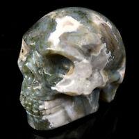 "top!2"" Natural Ocean Grass Agate Quartz Crystal Skull Carved Skull Reiki Healing"