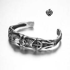 Silver skull bangle stainless steel boys women cuff bracelet small size