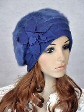 M32 NEW Wool Rabbit Fur Fashion Women's Winter Hat Beanie Cap Flowers BLUE
