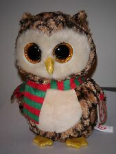 "Ty Beanie Boos ~ WISE the 6"" Holiday Owl Stuffed Plush Toy (New) 2015 Design"