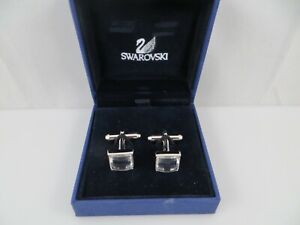 Swarovski Clear Crystal Cufflinks in Box Silver Tone