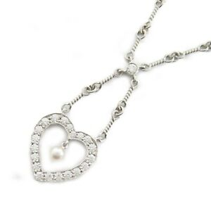TIFFANY&CO Sentimental Heart Pearl Necklace Pt950 Platinum White Silver Used