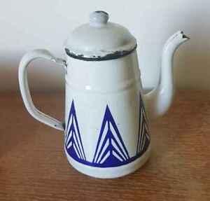Coffee Machine Maker Art Deco Sheet Metal Enamelled, Pattern Geometric