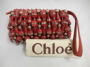 Chloé wristlet clutch bag marbled glass beading red canvas H13 x W23 x D2.5cm