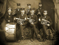 """1905 Brass Band Vintage Old Trumpet Band Musician Photo 8.5"""" x 11"""" Reprint"""
