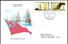 TURKS & CAICOS FDC - SALUTE TO THE ROYAL NAVY COMBO - EUROPEAN SIZE - CACHETED!