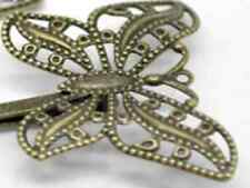 Two Butterfly HAIR SLIDES Large  Clip Kirby Grip Pin Ornate Antique Bronze Tone