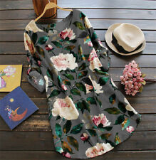 Summer Womens Floral Tops Blouse Ladies Long Sleeve T-Shirt Dress Plus Size 6-22
