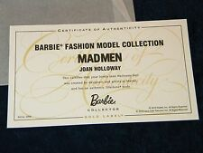 Mad Men Joan Holloway Silkstone Barbie COA ONLY Fashion Model Collection