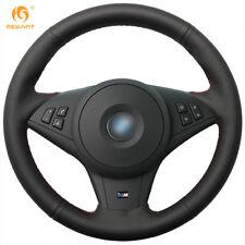Black Genuine Leather Steering Wheel Cover Wrap for BMW E60 530i E63 E64 635D