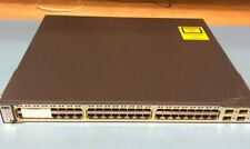 Cisco WS-C3750-48PS-S Catalyst 48 Ports 10/100/1000 PoE+ 2 x 1100W AC Tested