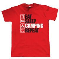 Eat Sleep Camping Repeat, Mens Funny, Outdoors T Shirt, Gift Dad