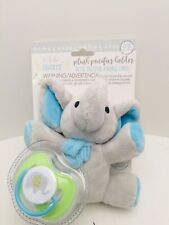 Le Bebe Plush Baby ELEPHANT PACIFIER HOLDER Security Binky w Cover BPA Free NWT