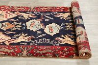 Vintage Pictorial Decorative Oriental Runner Rug Hand-Knotted Wool Carpet 4 x 9