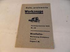 ancien Brochure Westfalia Outil Outils 1933