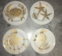 "Set of 4  222 Fifth Coastal Life Gold Appetizer Party Plates  6 3/8""  NEW"