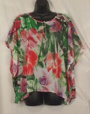 Shirt Small Jennifer Lopez Womens Green Red Floral Jungle Chiffon Camisole New