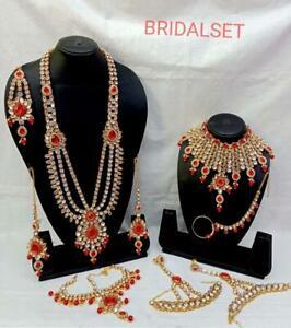 Indian Gold Tone Kundan Bridal Costume Wedding Fashion Jewelry 9 Pc Combo Set