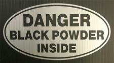 "DANGER Black Powder Inside - 5 3/4"" Silver Oval Decal for Gun Safe"