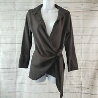Zara Womens Wrap Top Sz Small Taupe Long Sleeve