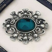 Vintage Emerald Green Glass Cabochon - Celtic Scottish Thistle Pewter Brooch Pin