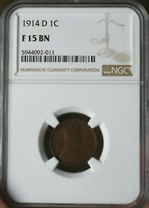 1914-D Lincoln Cent NGC Graded F 15 BN