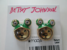 NWT Auth Betsey Johnson Costume Critters Lion Green Frog Stud Earrings